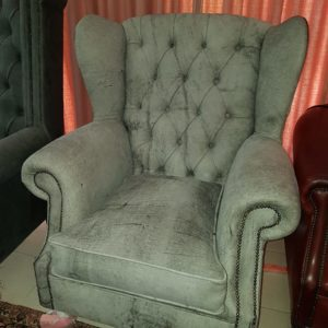 Leather Chair Charcoal Wingback