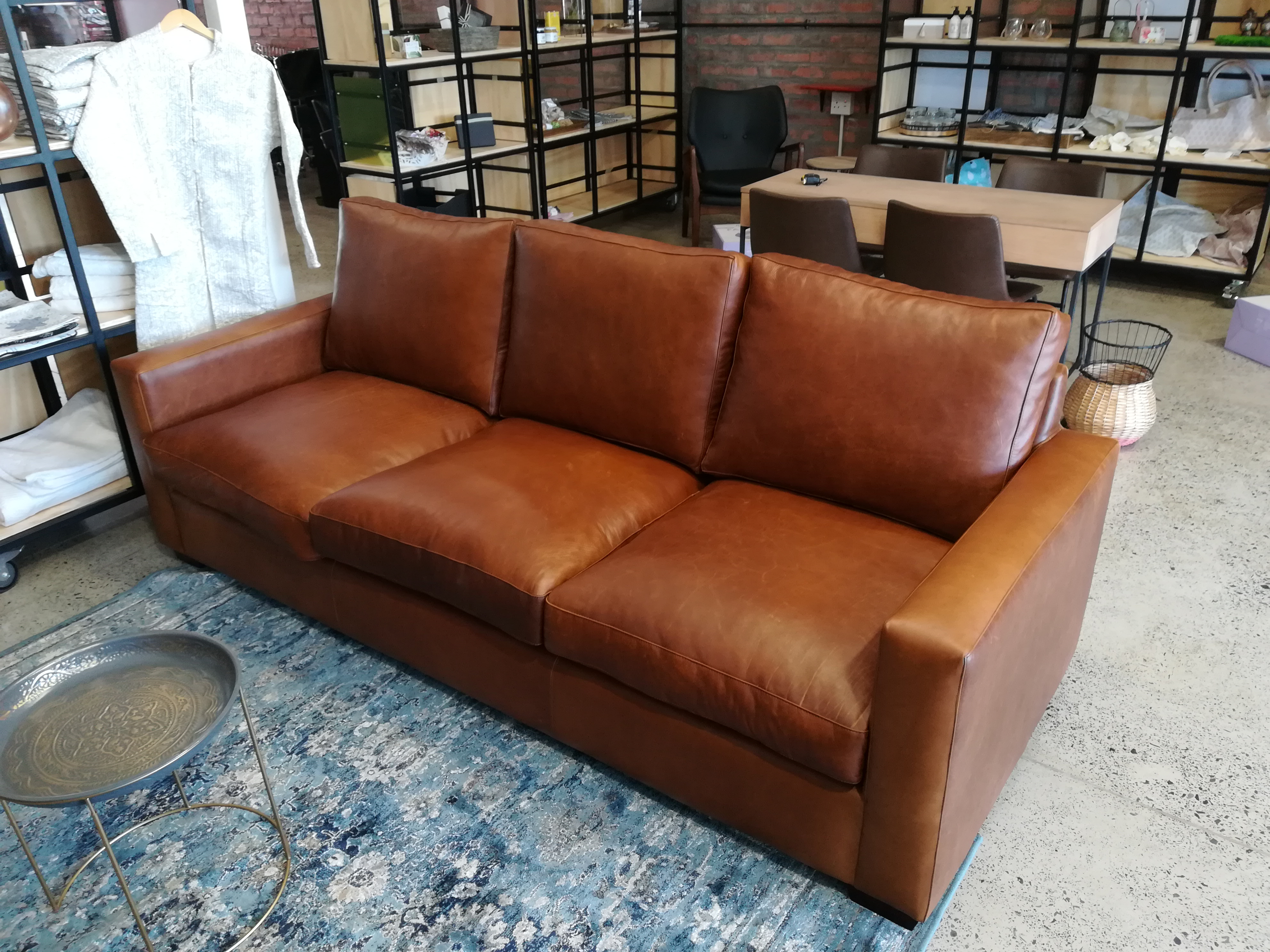 2 3m Pista Pecan Leather Couch Leather Supplier